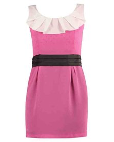 Mint Zip-Through Contrast Waistband Dress Pink