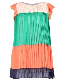 Mint Pleated Striped Mini Dress Multi-Coloured