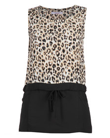 Mint Leopard Print Combo Dress Black