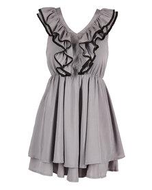 Mint Contrast Binding Frill Dress Grey
