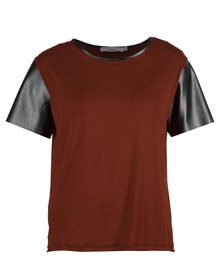 Mint Viscose Top With Leatherette Sleeves Orange