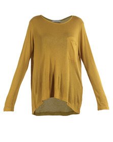 Mint Long-Sleeved Lightweight Modal Dipped Hem Top Mustard