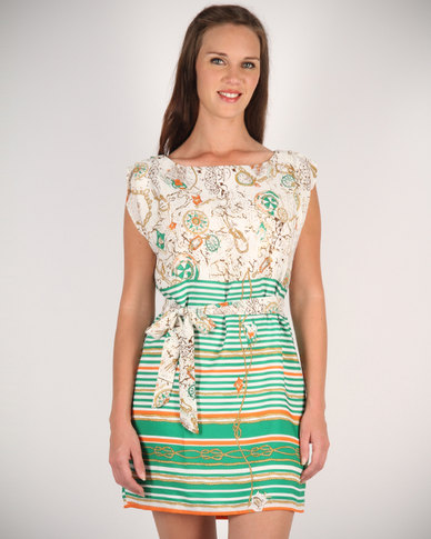 Mint Striped Bottom Dress With Floral Belt Green