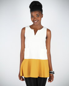 Mint Colourblock Short Shift Dress White And Yellow