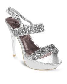 Miss Black Claudia Heels Silver