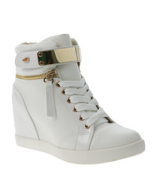 Miss Black Tyl1 Wedge Sneakers White