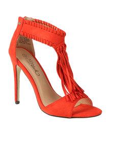 Miss Black Orlando T-Bar High Heel With Fringe Detail Burnt Orange *Exclusive to Zando