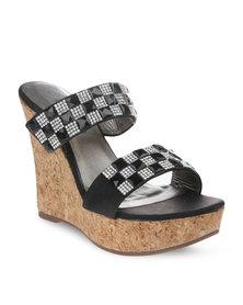 Miss Black Charlize Wedge Heels Black