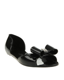 Miss Black Tilda Peep-Toe Patent Sandals Black