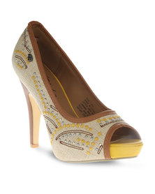 Miss Black Diaz Heels Yellow