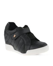 Miss Black Vicky Wedge Sneakers Black