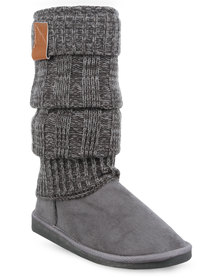 Miss Black Downtown Knit Boots Grey