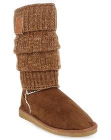 Miss Black Downtown Knit Boots Tan