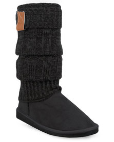 Miss Black Downtown Knit Boots Black