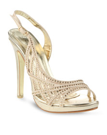 Miss Black Poppy Sling-Back High Heel Gold