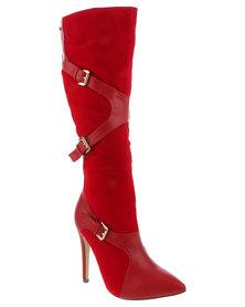 Miss Black Tali 1 Knee High Boot Red