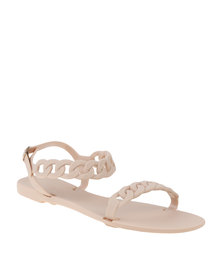 Miss Black Terra Sling Back Flat Slip On Sandal Nude