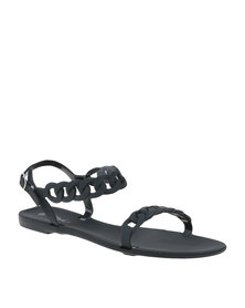 Miss Black Terra Sling Back Flat Slip On Sandal Black