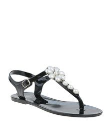 Miss Black Nyx Embellished Slingback Toe Thong Sandal Black