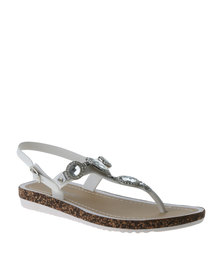Miss Black Gallia Embellished Sandal White