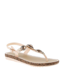 Miss Black Gallia Embellished Sandal Nude