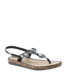 Miss Black Gallia Embellished Sandal Black