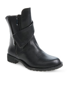 Miss Black Layered Ankle Boots Black