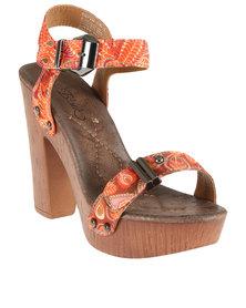 Miss Black Cupid Combo Block Heel Platform Sandal White/Orange