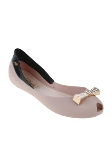 Miss Black Camero Jellie Ballerina Pump With Bow Nude