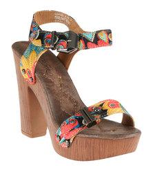 Miss Black Cupid Combo Block Heel Platform Sandal Black