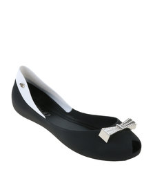 Miss Black Camero Jellie Ballerina Pump With Bow Black
