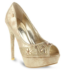 Miss Black Gisela Platform High Heel Gold