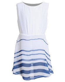 Miss Molly Kath Striped Dress White/Blue