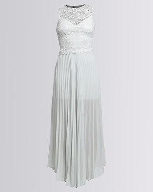 Mix Lace Overlay Pleated Maxi Dress Grey
