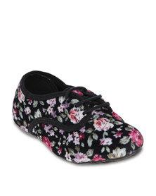 Molekinha Floral-Print Casual Shoes Black