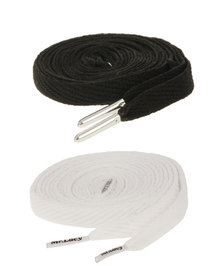 Mr Lacy Two Pack Shoelaces Black White