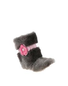 Myang Fur with Pink Flower Booties Grey