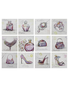 Nacistore Canvas Wall Art Glitter Fashion Accessories Set of 12 Multi