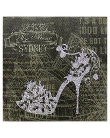 Nacistore Canvas Print Glitter Shoe Sydney Wall Art Silver