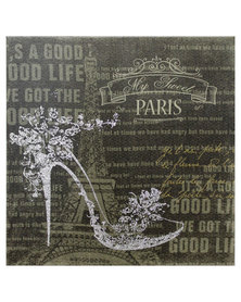 Nacistore Canvas Print Glitter Shoe Paris Wall Art Silver