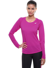 New Balance Performance Accelerate Long Sleeve Tee Purple