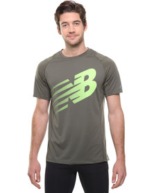 New Balance Performance Accelerate SS Graphic Tee Green