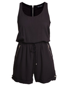 New Look Twill Racer Back Playsuit Black
