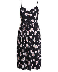 New Look Erin Tie Front Floral Midi Dress Black