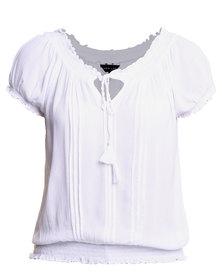 New Look Bella Cloth Gypsy Top White