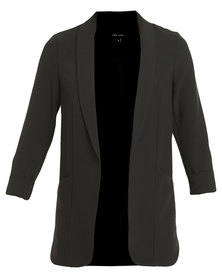 New Look Curved Hem Blazer Black