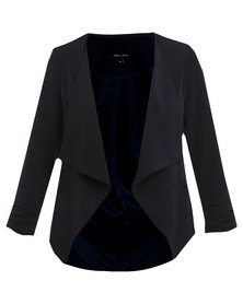 New Look Crepe Waterfall Blazer Navy