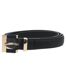 New Look Square Insert Buckle Skinny Belt Black
