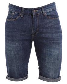 New Look Wow Dark Wash Denim Shorts Navy