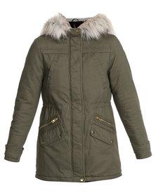 New Look Faux Fur Trim Hooded Parka Green